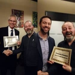Frank Gens (IDC) and JP Carter (Forrester) collect Analyst Firm Awards from Duncan Chapple