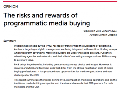 The risks and rewards ofprogrammatic media buying